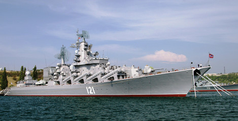 Russian cruiser Moskva in Sevastopol (Crimea, Ukraine)