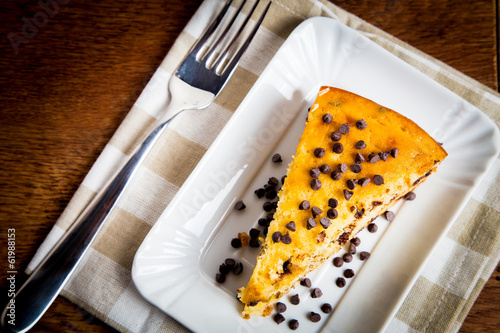 Slice of pear cake with chocolate chips