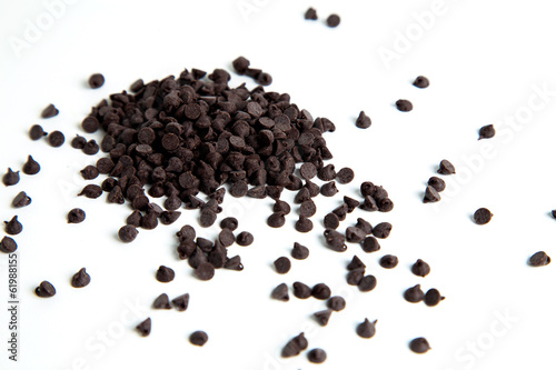 Chocolate chips, isolaed on white background