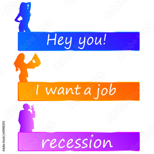 recession or job color vector
