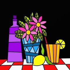 limonata e vaso di fiori