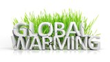 Grass with broken Global Warming 3D text