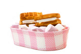 Marshmallow and belgian waffle in a basket