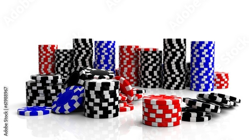 Fine casino gaming checks isolated on white background