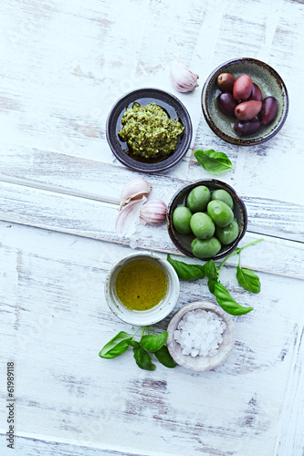 Basil Pesto, Olives, Sea Salt  and Olive Oil
