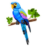 big blue parrot on a branch