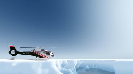 Helikopter ist im ewigen Eis gelandet