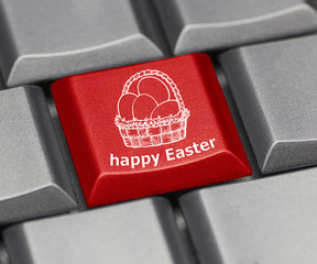 Computer key - Happy Easter with basket