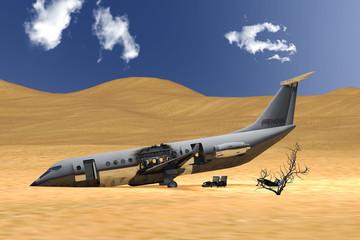 Abgestürztes Verkehrsflugzeug im Wüstensand