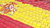 3D abstract background with flag of Spain