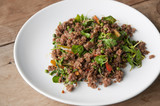 Stir-fried spicy minced beef.