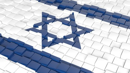 3D abstract background with flag of Israel