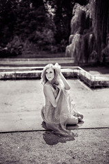 Sensual monochrome portrait of beautiful blonde woman