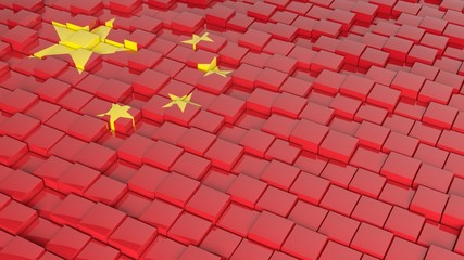 3D abstract background with flag of China