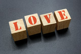 wood blocks with love word