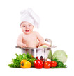 Baby boy wearing chef hat  in big saucepan