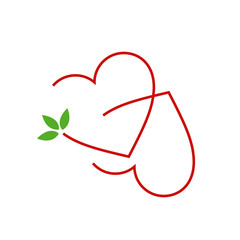 Two Hearts with leaves- logo for matrimony or wedding services
