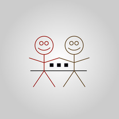 Two happy stick figures with house- Property business logo