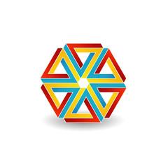 Six penrose triangles shaped like star optical illusion