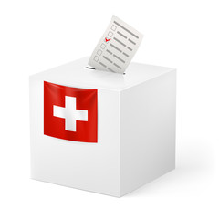 Ballot box with voicing paper. Switzerland
