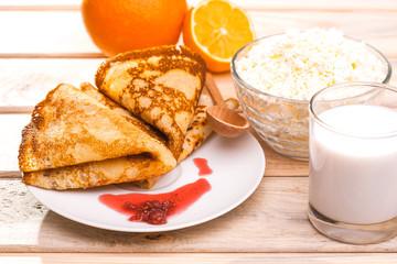 morning breakfast. fresh pancakes