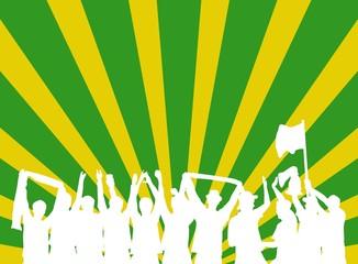 Gelb-grüner Hintergrund mit Silhouette von jubelnden Fans