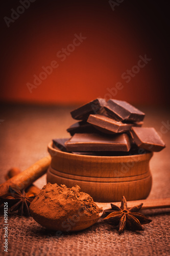 pieces of chocolate with spices, cinnamon, star anise