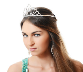 The beautiful woman with a tiara on a head