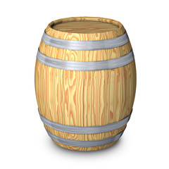 Wooden barrel with steel ring