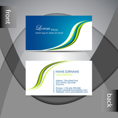 Abstract professional blue and green business card template
