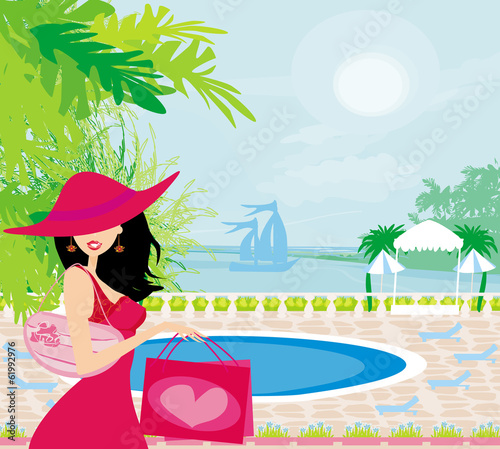 elegant woman on tropical vacation