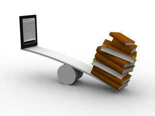 seesaw between many books and e-reader