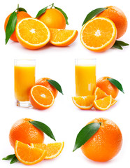 Collection of orange with juice