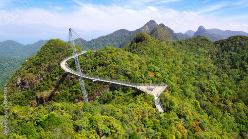 Curved pedestrian cable-stayed bridge.  Langkawi, Malaysia.