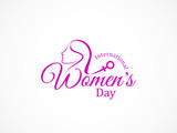 pink color text design element for women's day