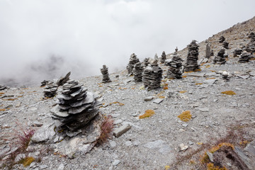 Stone marks at the pass in Himalayas