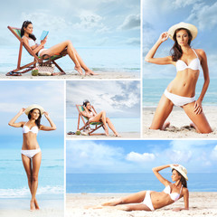 A collage of young woman relaxing on the beach
