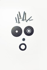 face composed of screws washers and bolts