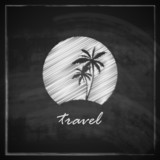 illustration with tropic island sign on blackboard background
