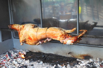 roasted lamb on the spit