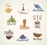 set of characters on the theme of food and drinks