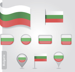 The Bulgarian flag - set of icons and flags