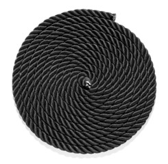 Neatly coiled braided plaited black rope