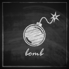 vintage illustration with bomb on blackboard background.