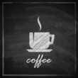 vintage illustration with coffee cup on blackboard background.