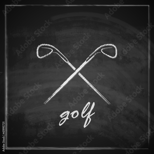 vintage illustration with golf drivers on blackboard background