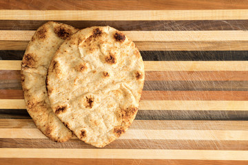 Crisp crusty naan whole grain flatbread