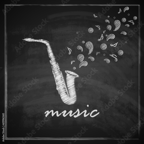 illustration with the saxophone on blackboard background.