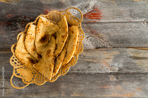 Delicious crusty naan flatbread slices in a basket