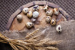quail eggs and feathers on the aged wooden table